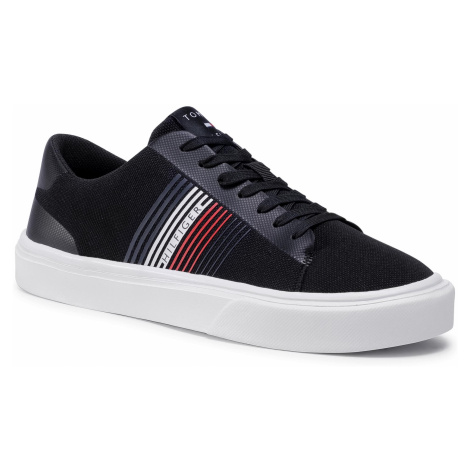 Tenisówki TOMMY HILFIGER - Lightweight Stripes Knit Sneaker FM0FM02836 Black BDS