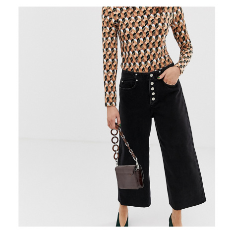 River Island wide leg culottes with button front in black denim