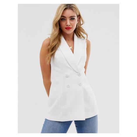 Miss Selfridge sleeveless waistcoat in white