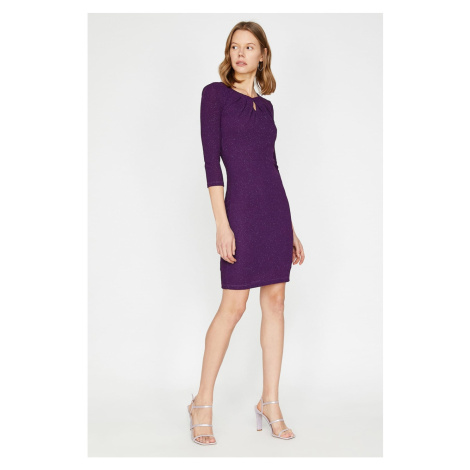 Koton Damska purpurowa sukienka wieczorowa i dyplomowa