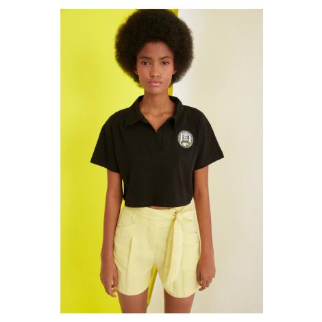 Modsyol Czarny Crop Haftowany T-shirt z dzianiny Trendyol