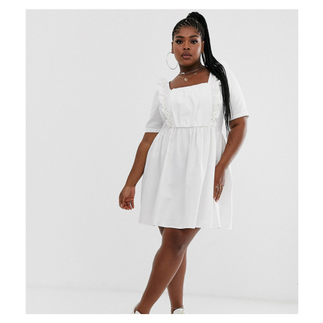 ASOS DESIGN Curve denim smock dress with frill in white
