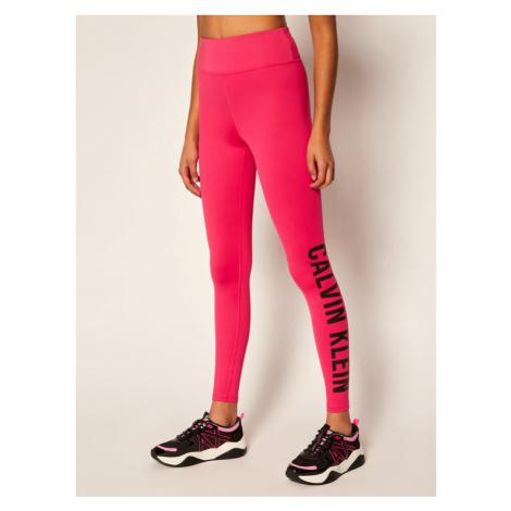 Calvin Klein Performance Legginsy High Rise Logo Gym 00GWT0L633 Różowy Slim Fit