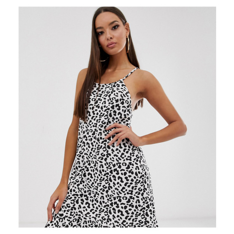 Boohoo exclusive swing dress with frill hem in white animal print