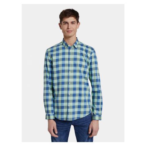 Niebiesko-zielona męska koszula w kratę Tom Tailor Denim