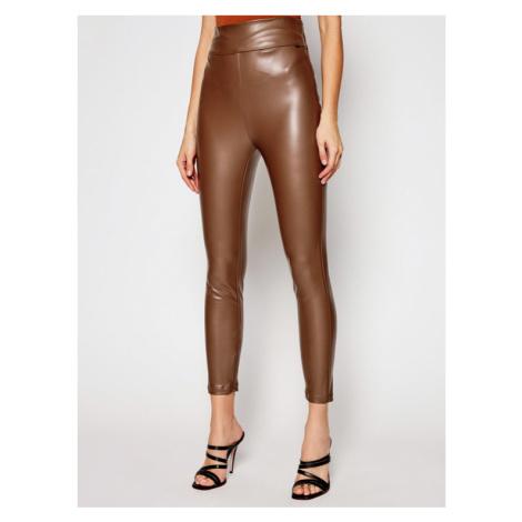 Guess Spodnie skórzane Priscilla W1RB25 WBG60 Brązowy Slim Fit