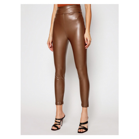 Guess Spodnie z imitacji skóry Priscilla W1RB25 WBG60 Brązowy Slim Fit