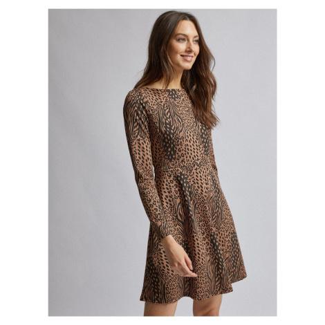 Brązowa sukienka w zwierzęcy wzór Dorothy Perkins