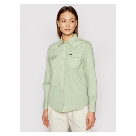 Wrangler Koszula jeansowa Western W5WSMP30H Zielony Regular Fit