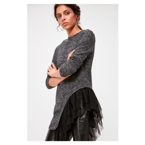 Trendyol Black Tulle Detailed Knitted Blouse