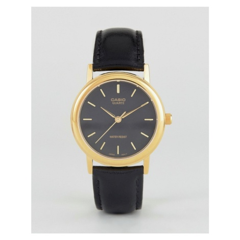 Casio MTP1095Q-1A gold detail black leather strap watch