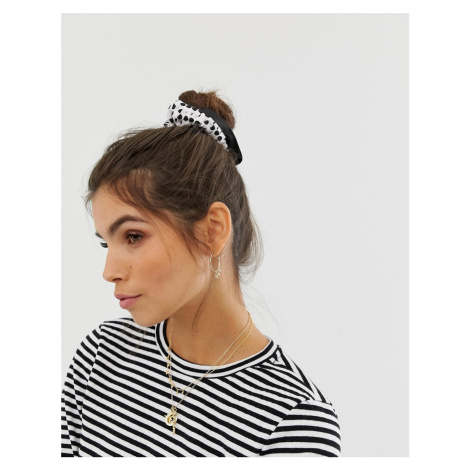 ASOS DESIGN scrunchie with frills in polka dot