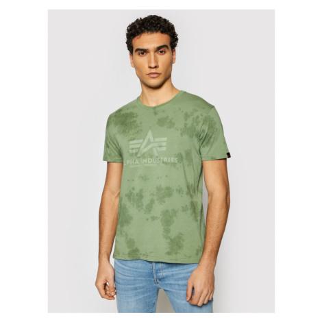 Alpha Industries T-Shirt Basic T Batik 116517 Zielony Regular Fit