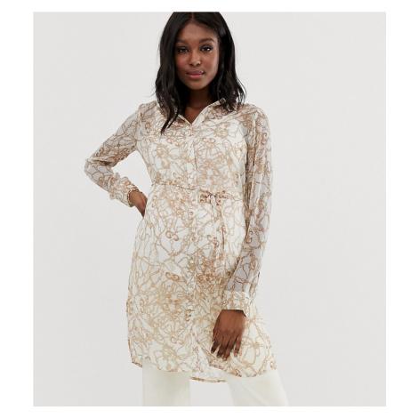 Mamalicious long sleeve sheer chain print shirt Mama Licious