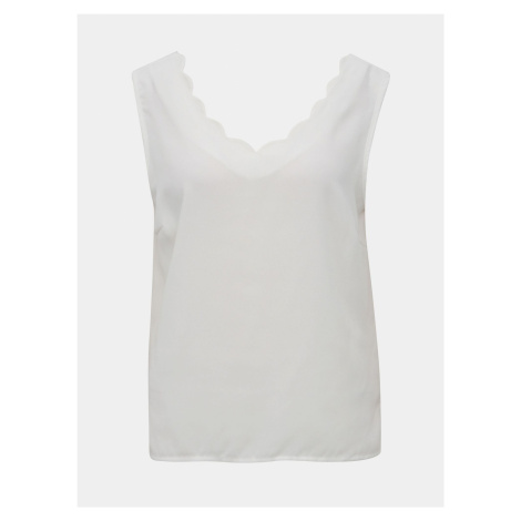 Biała koszulka bez rękawów VILA Scallopa