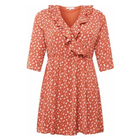 ABOUT YOU Curvy Sukienka koszulowa 'Theres' biały / pomarańczowo-czerwony