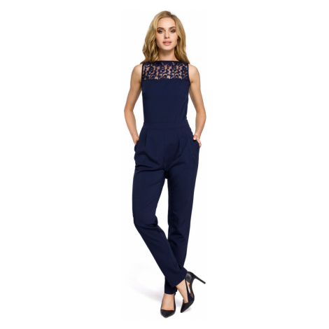Made Of Emotion Woman's Jumpsuit M270 Navy Blue
