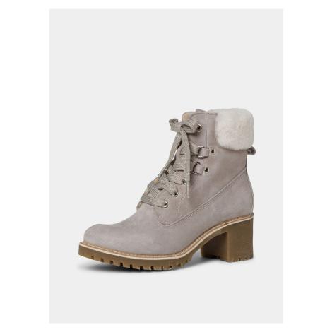 Tamaris beżowy zimowy zamszowe botki buty