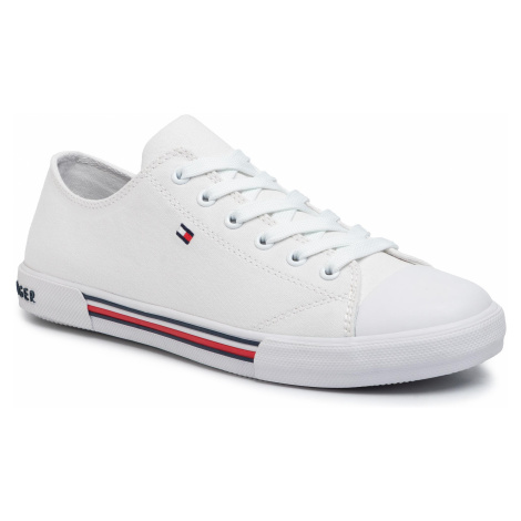 Trampki TOMMY HILFIGER - Low Cut Lace-Up Sneaker T3X4-30692-0890 D White 100
