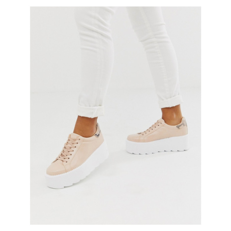 ASOS DESIGN December chunky trainers in beige and snake