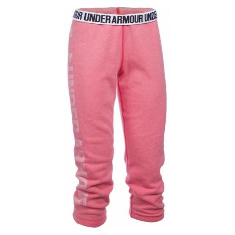 Under Armour FAVORITE FLEECE CAPRI różowy L - Spodnie dresowe 3/4 damskie