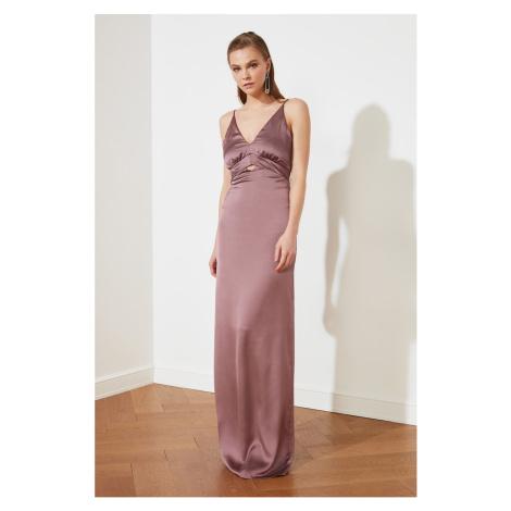 Trendyol Lilac Neck Szczegółowe Satynowa suknia wieczorowa & suknia ukończenia