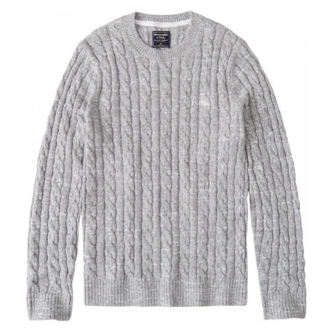 Abercrombie & Fitch Sweter 'ICON CABLE CREW' jasnoszary