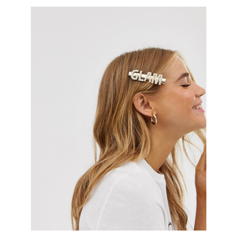 ASOS DESIGN hair clip with pearl glam slogan in gold tone