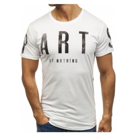 T-shirt męski z nadrukiem biały Denley 181167 BREEZY