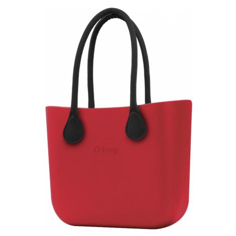 O bag różowa torebka Ciliegia z czarnymi długimi uchwytami ze skajki
