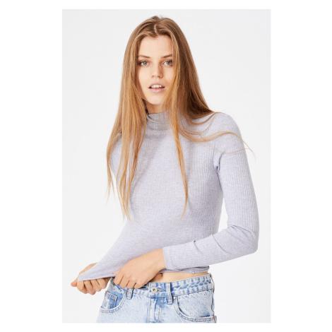 Damska bluzka basic z golfem Mila szara