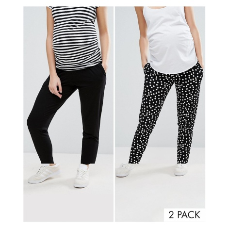 ASOS DESIGN Maternity under the bump 2 pack jersey peg trousers in plain black and spot print