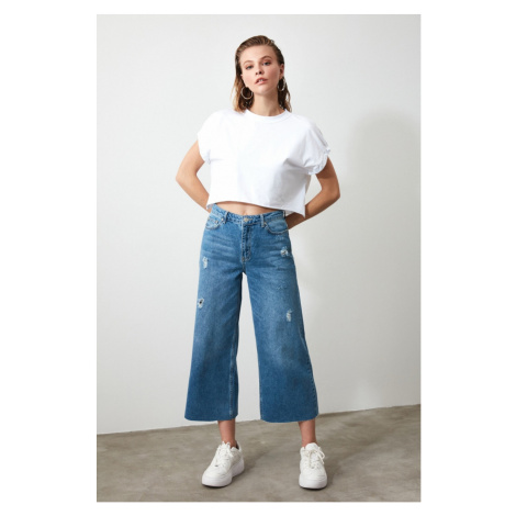Trendyol Blue Ripped Detailed High Waist Culotte Jeans