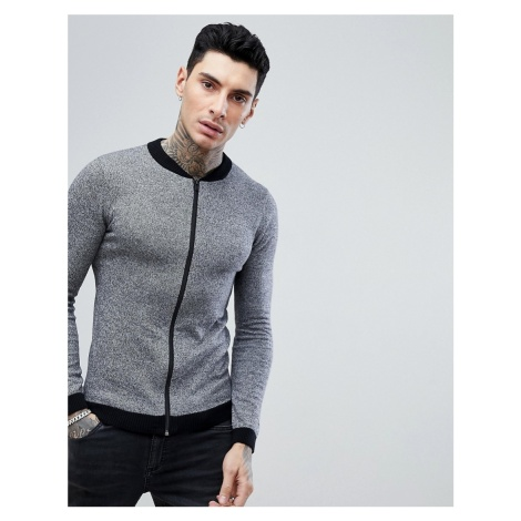 ASOS DESIGN knitted bomber in grey