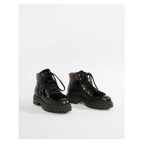 Kurt Geiger Regent black printed leather croc effect flat lace up ankle boots