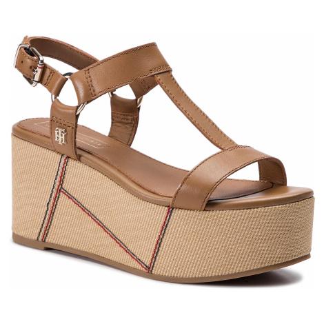 Sandały TOMMY HILFIGER - Elevated Leather Flatform Sandal FW0FW03944 Summer Cognac 929