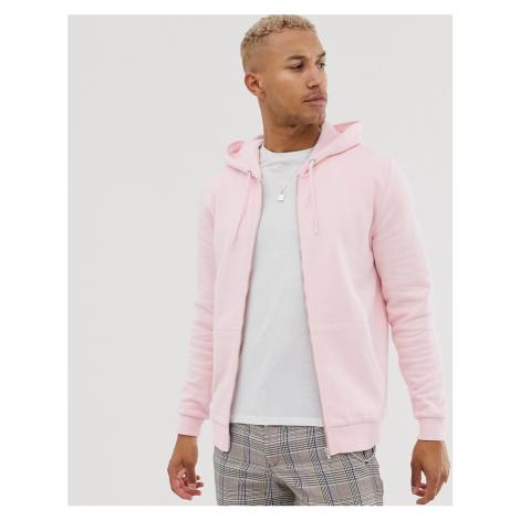 ASOS DESIGN zip up hoodie in pink