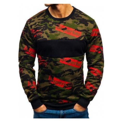 Bluza męska bez kaptura z nadrukiem zielona Denley 22021 J.STYLE