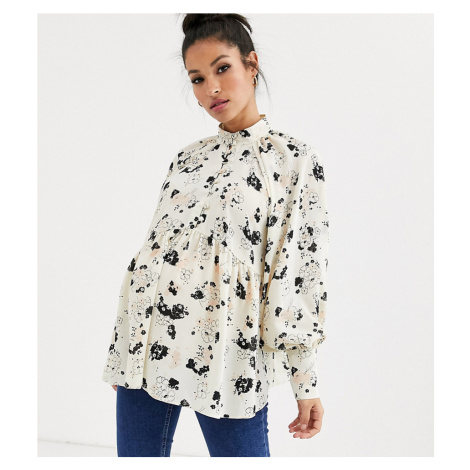ASOS DESIGN Maternity long sleeve button front sheer top in ditsy floral print
