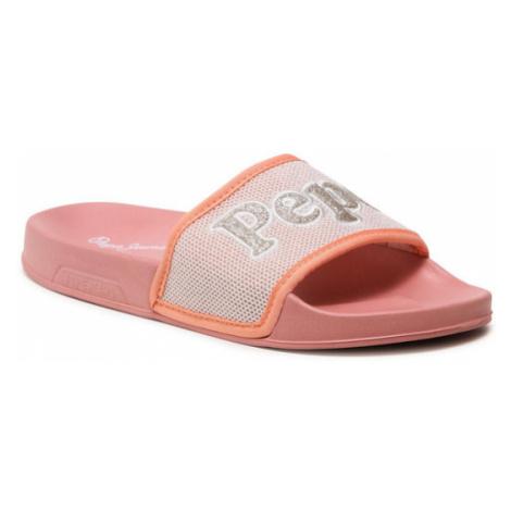 Pepe Jeans Klapki Slider Mesh PLS70101 Różowy