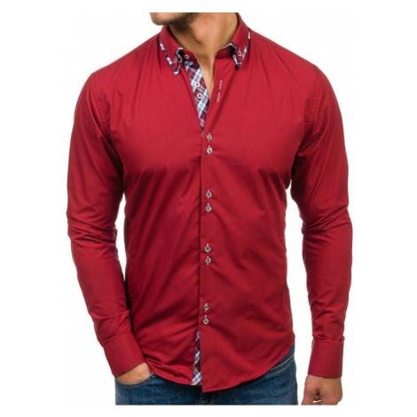 Koszula męska elegancka z długim rękawem bordowa Bolf 4704-1