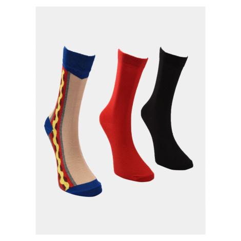 Trendyol 3 pack skarpetek męskich w czerwonym i czarnym kolorze