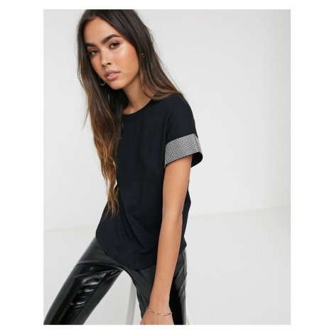 River Island t-shirt with embellished cuffs in black
