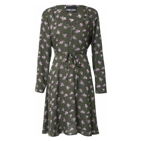PIECES Sukienka 'SILJY' mieszane kolory / ciemnozielony