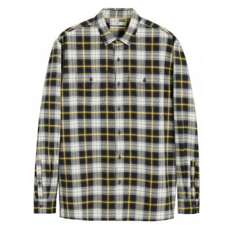 MANGO MAN Koszula 'power' czarny / kremowy / żółty