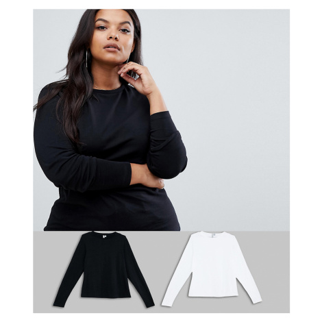 ASOS DESIGN Curve ultimate top with long sleeve and crew neck 2 pack SAVE
