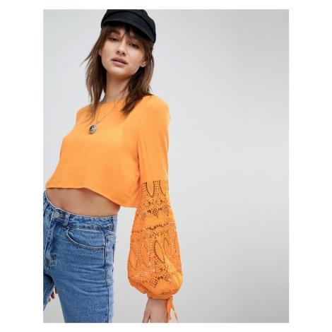 Vero Moda Crochet Sleeve Crop Top