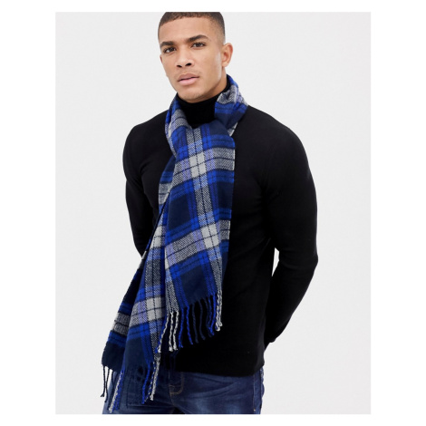 Boardmans Check Scarf In Navy