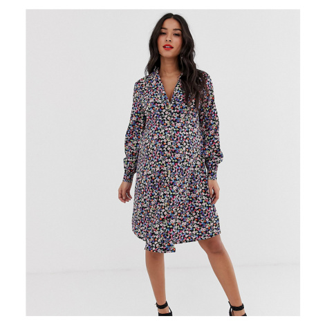 New Look Maternity floral button dress in black