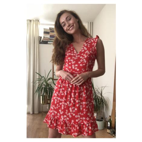 Trendyol Red Frilled Floral Pattern Dress
